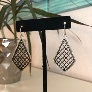 Silver and Black Filigree Earrings
